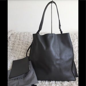 All Saints Paradise North South Gray Leather Bag